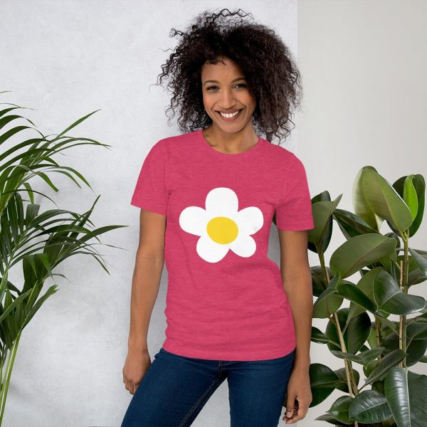 villager flower mockup Front Womens Lifestyle 2 Heather Raspberry